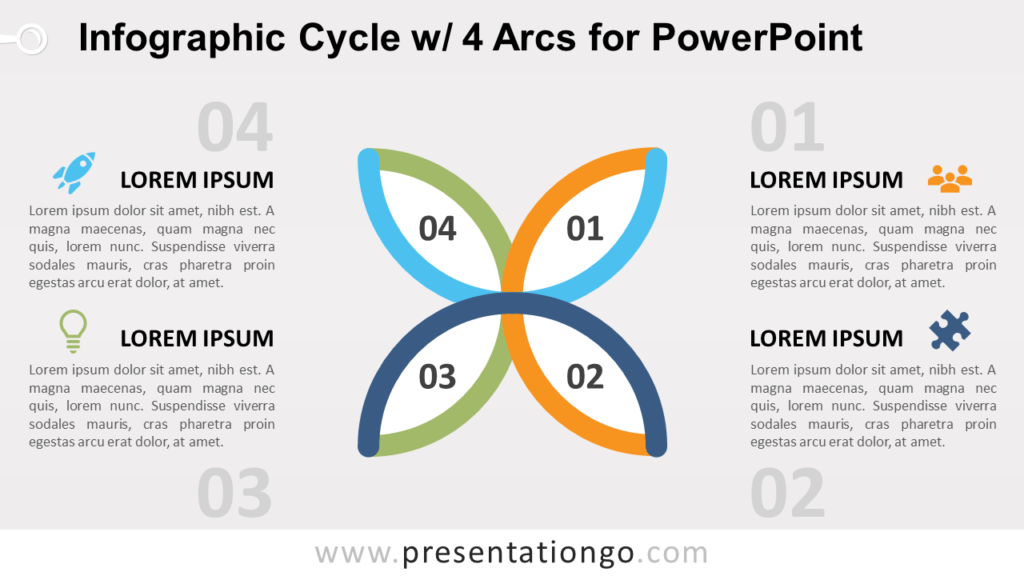 Free Cycle Diagram with 4 Arcs for PowerPoint