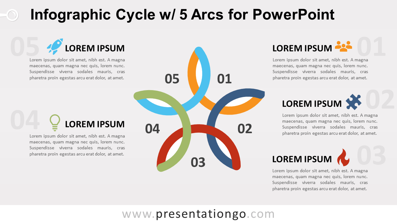 Free Cycle Diagram with 5 Arcs for PowerPoint