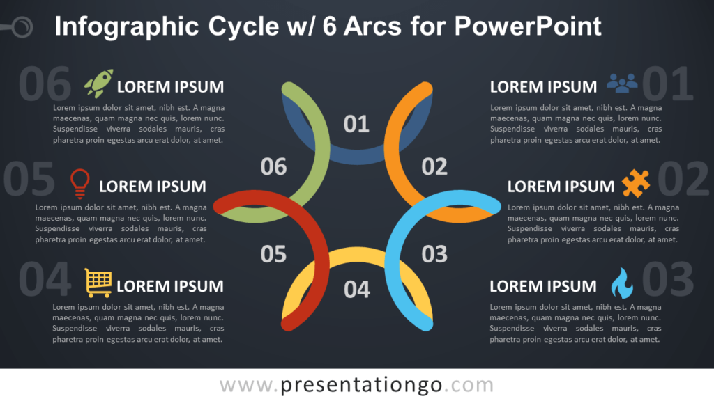 Free Cycle Diagram with 6 Arcs for PowerPoint - Dark Background