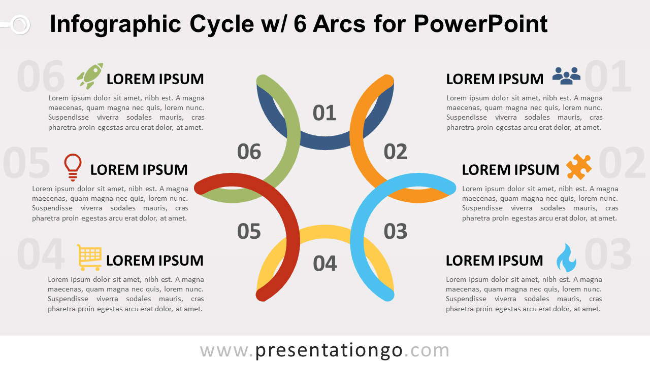 Free Cycle Diagram with 6 Arcs for PowerPoint