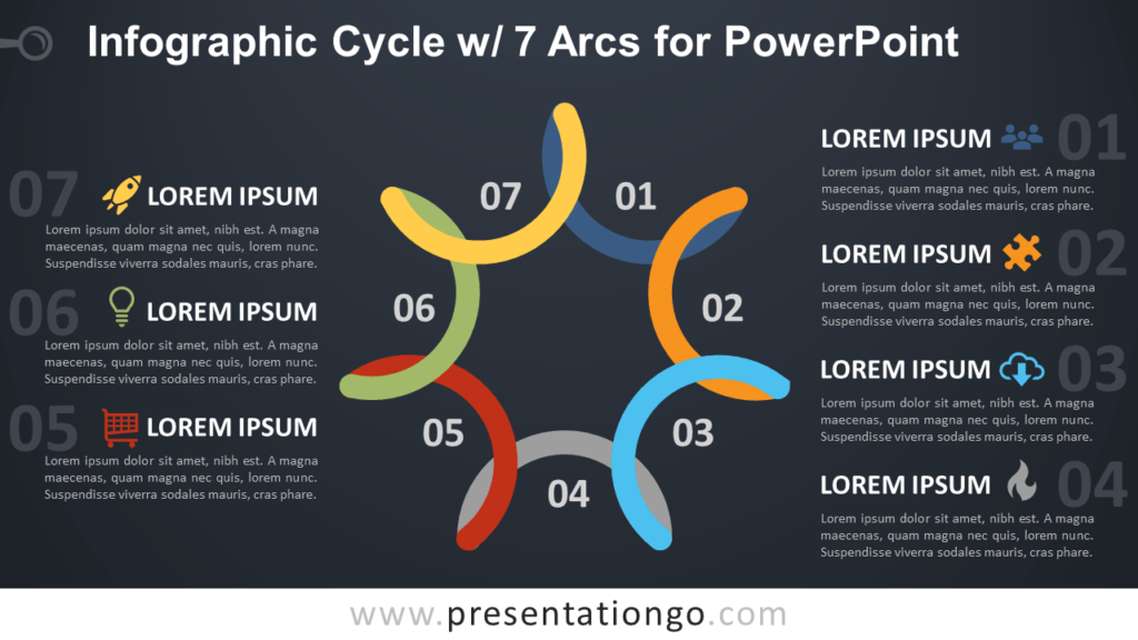 Free Cycle Diagram with 7 Arcs for PowerPoint - Dark Background