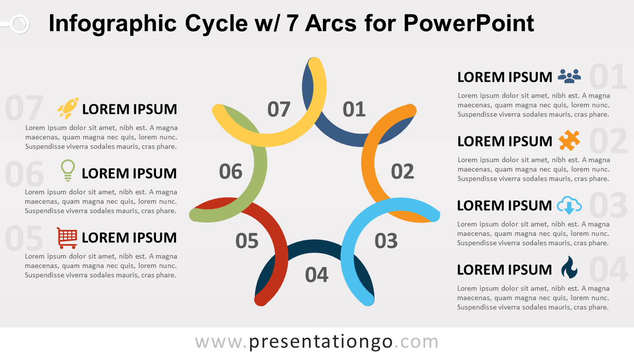 Free Cycle Diagram with 7 Arcs for PowerPoint