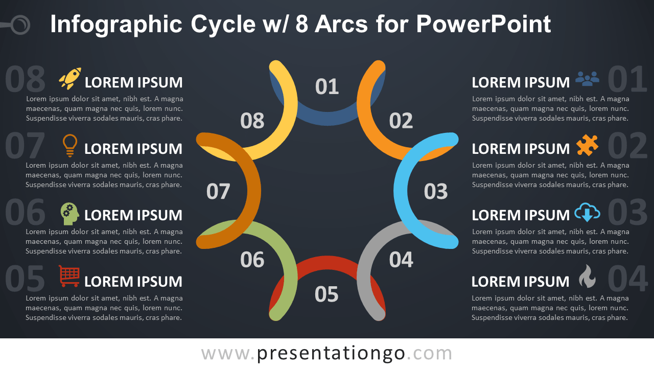 Free Cycle Diagram with 8 Arcs for PowerPoint - Dark Background
