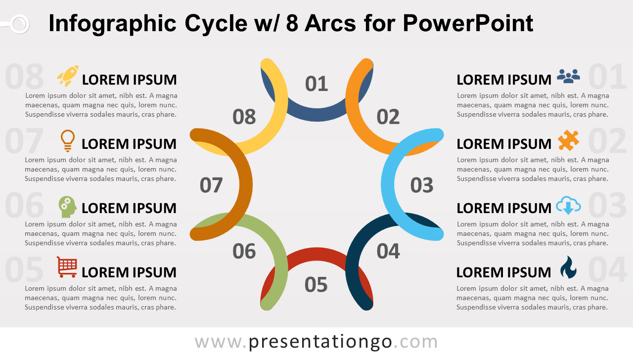 Free Cycle Diagram with 8 Arcs for PowerPoint