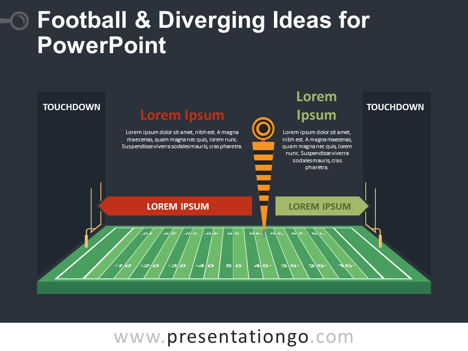 Free Football and Diverging Ideas PowerPoint - Dark Background