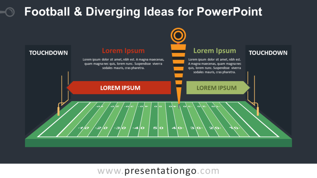 Free Football and Diverging Ideas PowerPoint Template - Dark Background