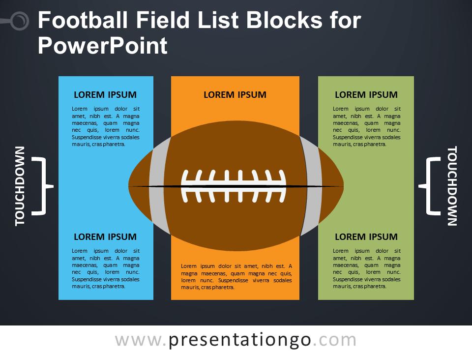 Free Football Field List Blocks for PowerPoint - Dark Background