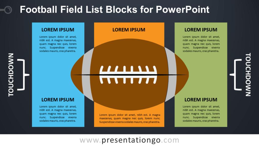 Free Football Field List for PowerPoint - Dark Background