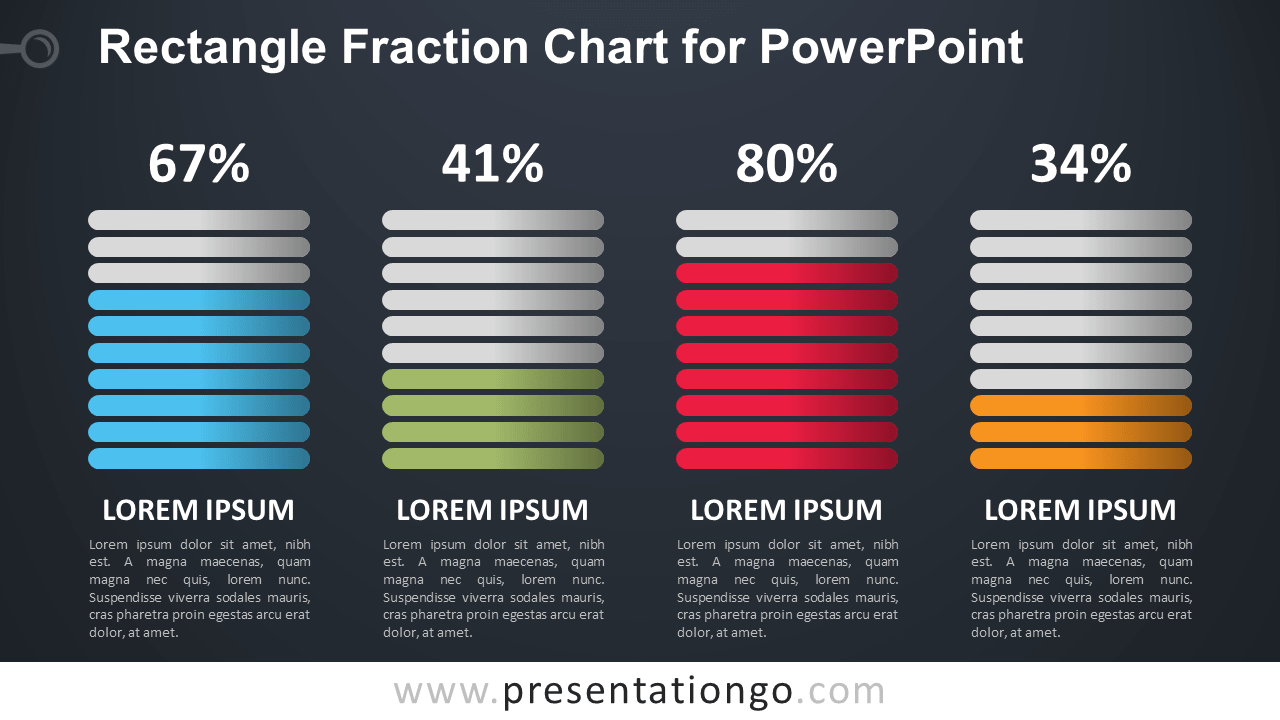 Free Fraction PowerPoint Chart - Dark Background