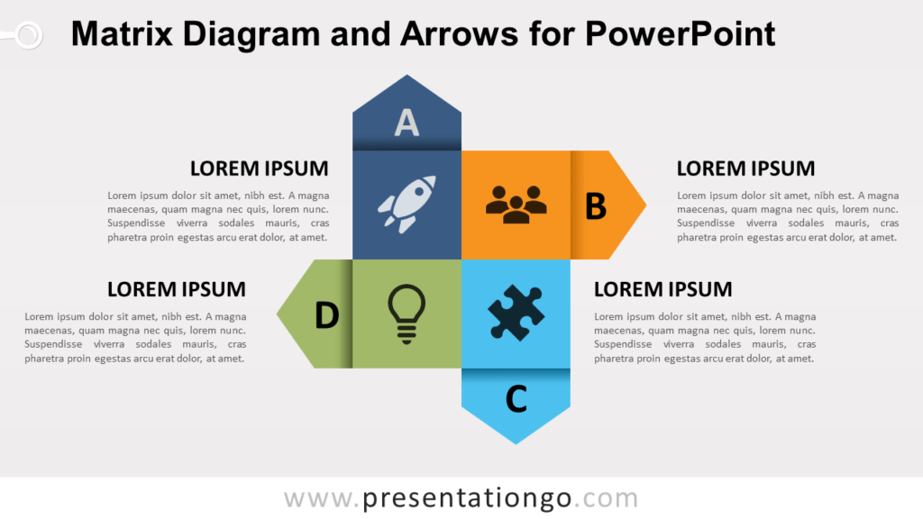 Free Matrix Diagram and Arrows for PowerPoint