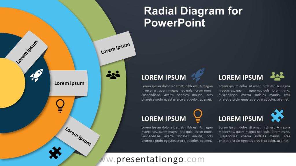 Radial Diagram for PowerPoint - Dark Background