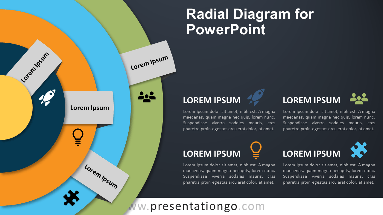 Radial Diagram for PowerPoint - Dark Background