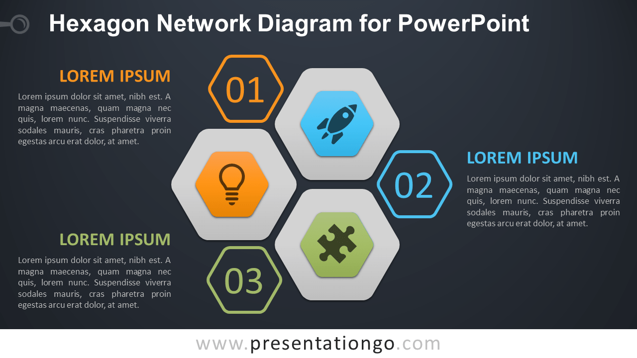 Free Hexagon Network for PowerPoint - Dark Background