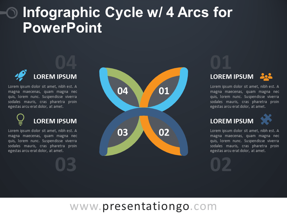 Free Infographic Cycle with 4 Arcs for PowerPoint - Dark Background