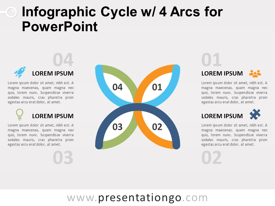 Free Infographic Cycle with 4 Arcs for PowerPoint