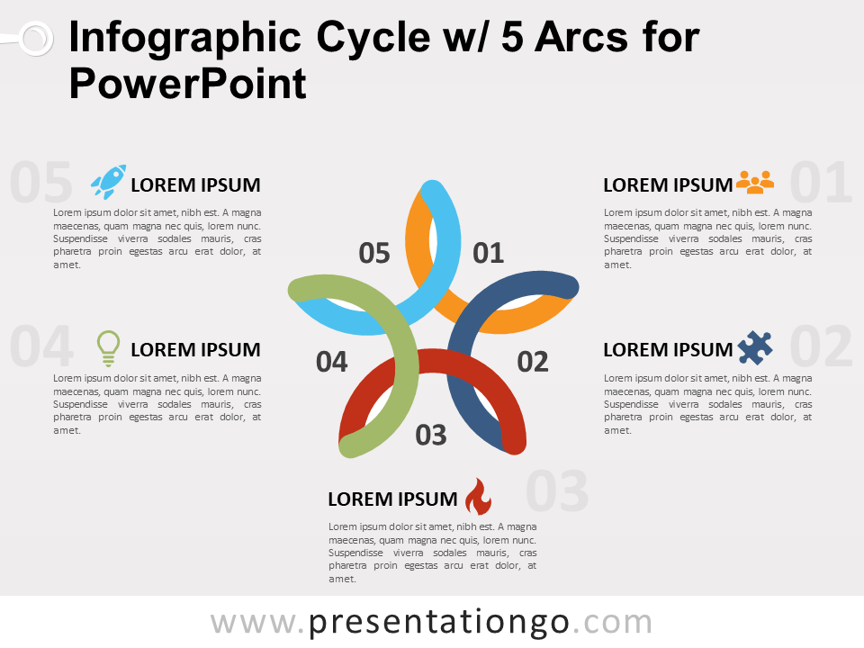 Free Infographic Cycle with 5 Arcs for PowerPoint