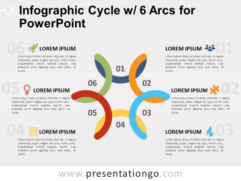 Free Infographic Cycle with 6 Arcs for PowerPoint