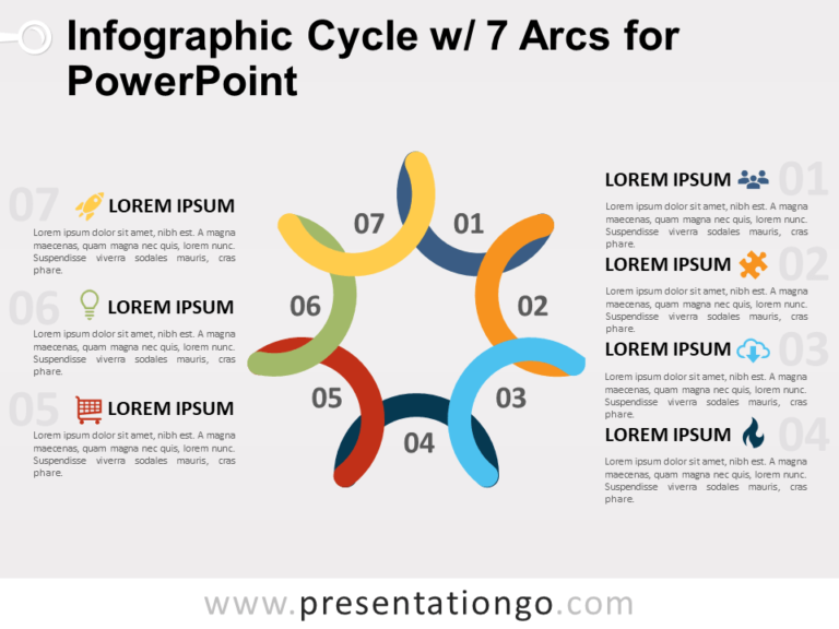 Free Infographic Cycle with 7 Arcs for PowerPoint
