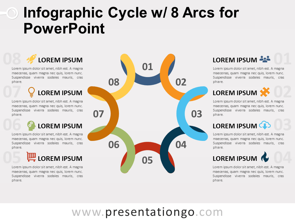 Free Infographic Cycle with 8 Arcs for PowerPoint