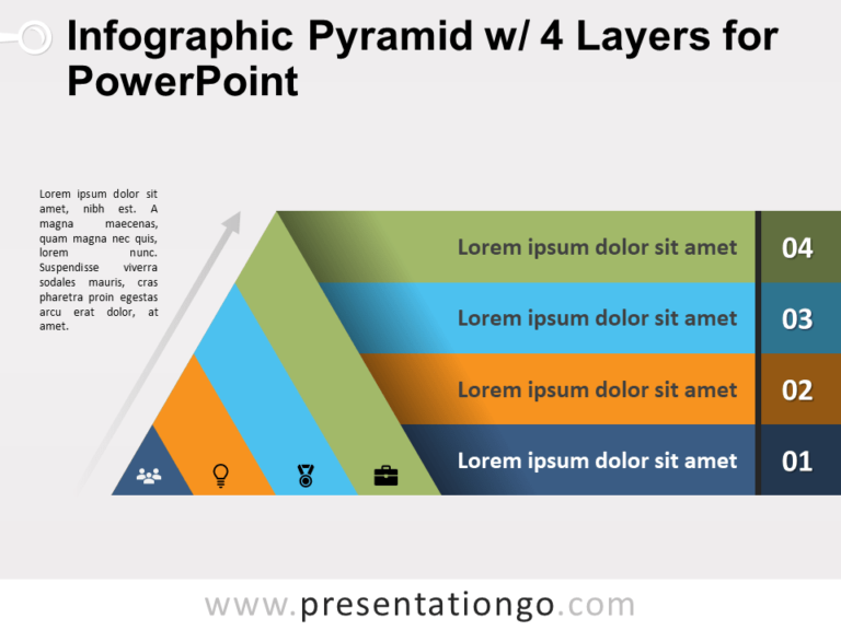 Free Infographic Pyramid with 4 Layers for PowerPoint