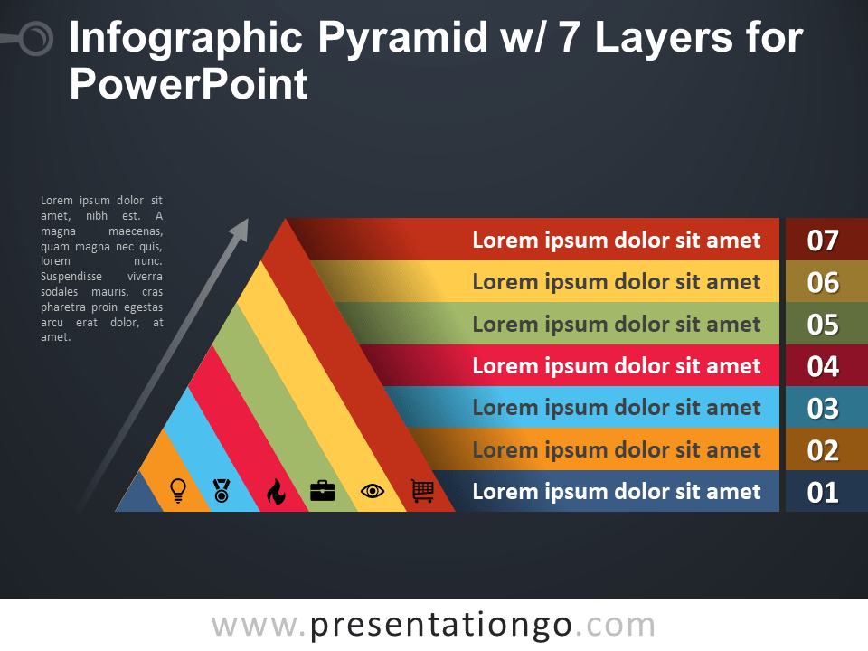 Free Infographic Pyramid with 7 Layers for PowerPoint - Dark Background