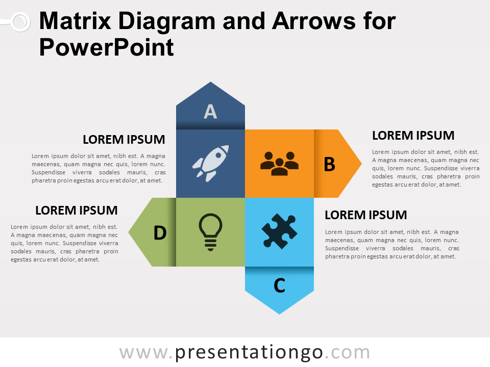 matrix diagram and arrows for powerpoint