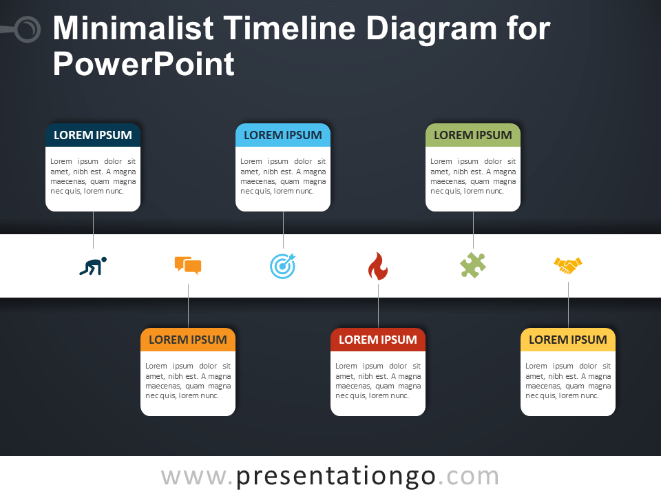 Free Minimalist Timeline Diagram for PowerPoint - Dark Background