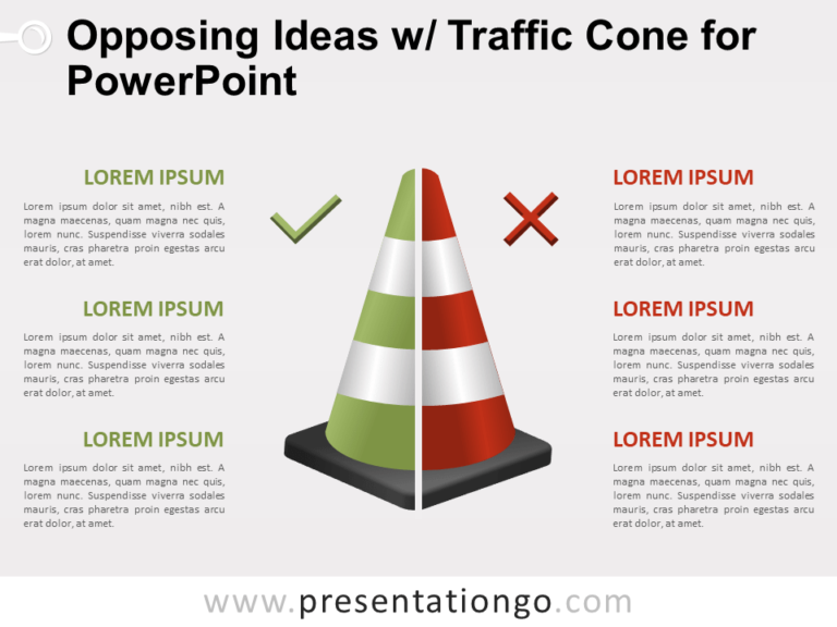 Free Opposing Ideas with Traffic Cone for PowerPoint