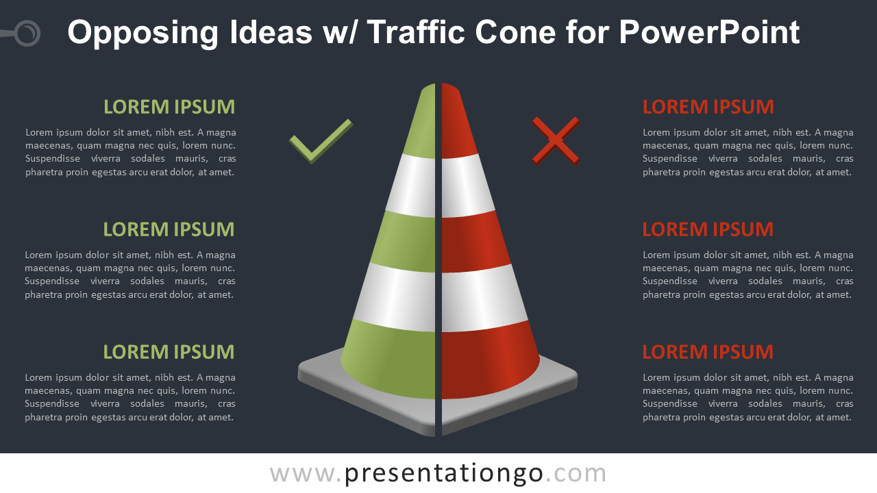 Free Opposing Ideas with Traffic Cone Template for PowerPoint - Dark Background