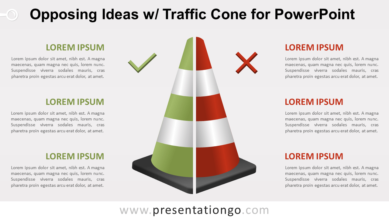 Free Opposing Ideas with Traffic Cone Template for PowerPoint