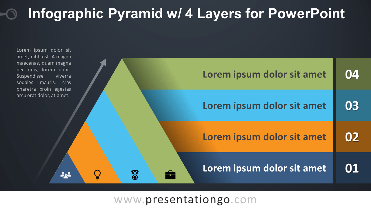 Free Pyramid with 4 Layers for PowerPoint - Dark Background