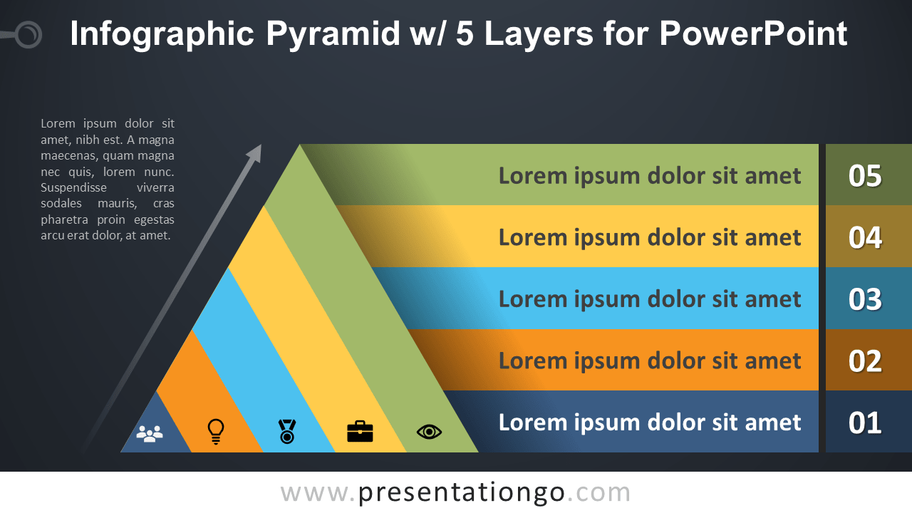 Free Pyramid with 5 Layers for PowerPoint - Dark Background