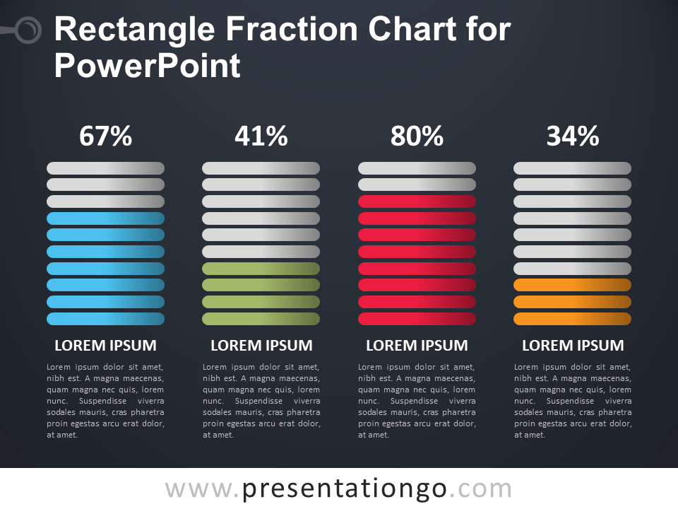 Free Rectangle Fraction Chart for PowerPoint - Dark Background