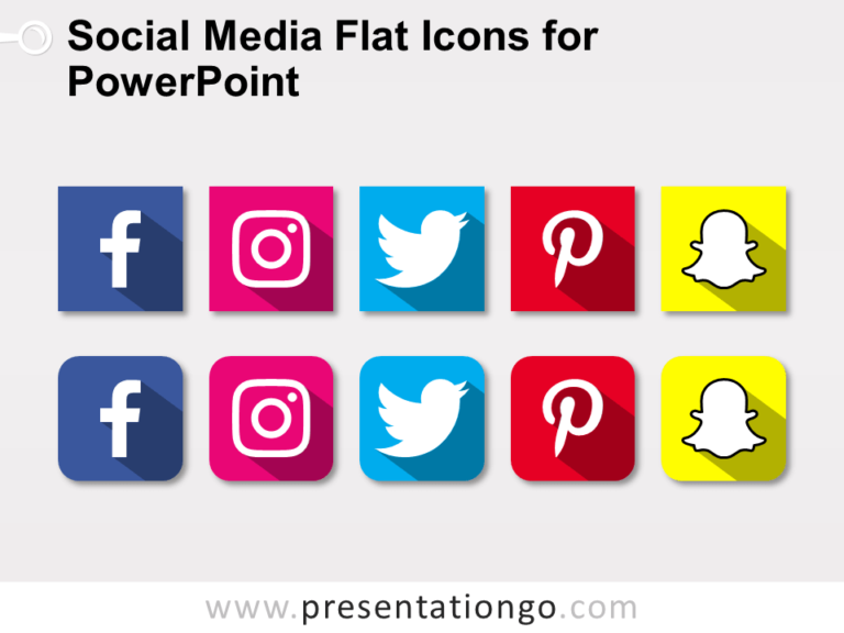 Free Social Media Flat Icons for PowerPoint