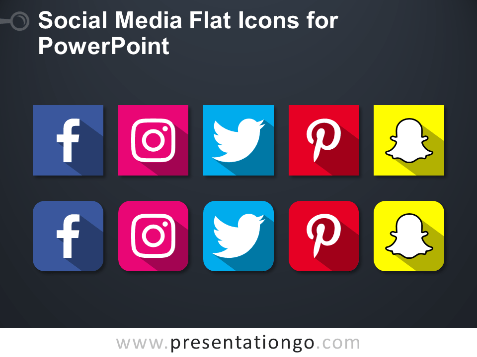 Free Social Media Flat Icons for PowerPoint - Dark Background