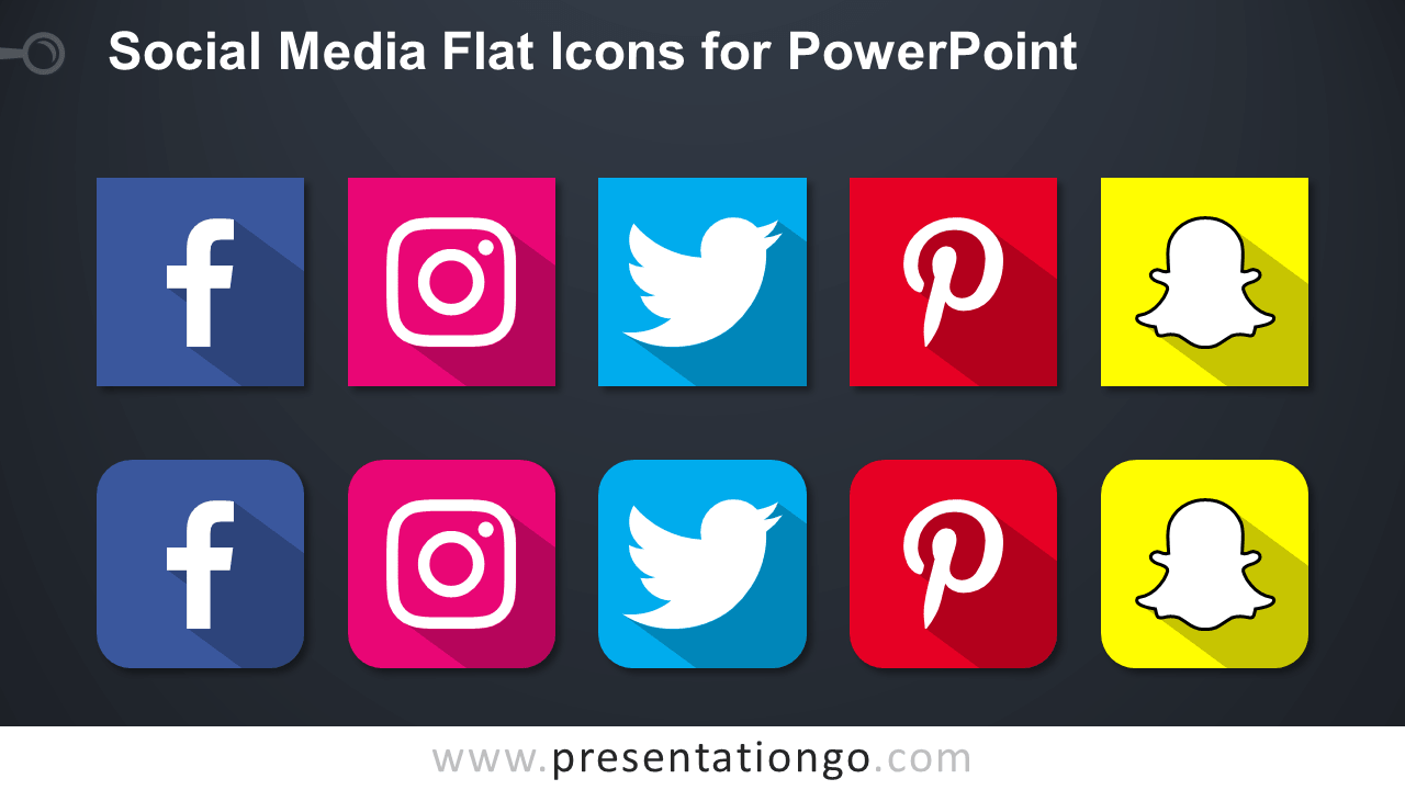 Free Social Media Icons for PowerPoint - Dark Background