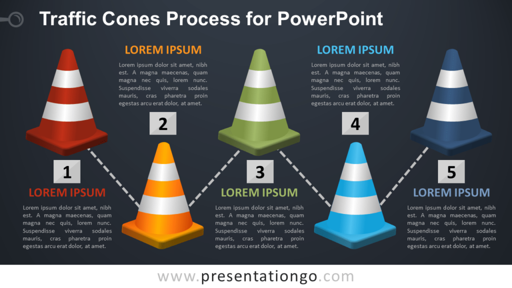 Free Traffic Cones Process Diagram for PowerPoint - Dark Background