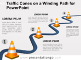 Free Traffic Cones on a Winding Path for PowerPoint