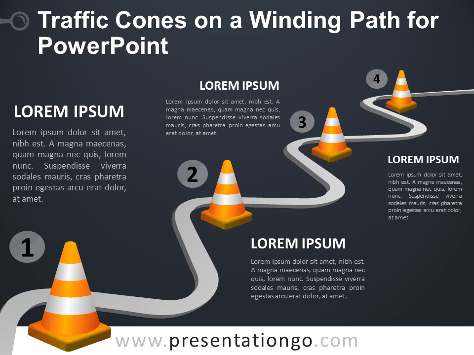 Free Traffic Cones on a Winding Path for PowerPoint - Dark Background