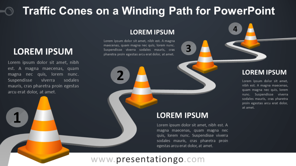 Free Traffic Cones on a Winding Path Template for PowerPoint - Dark Background