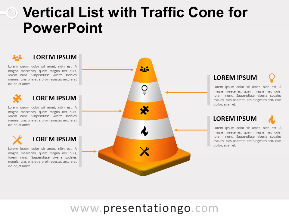 Free Vertical List with Traffic Cone for PowerPoint