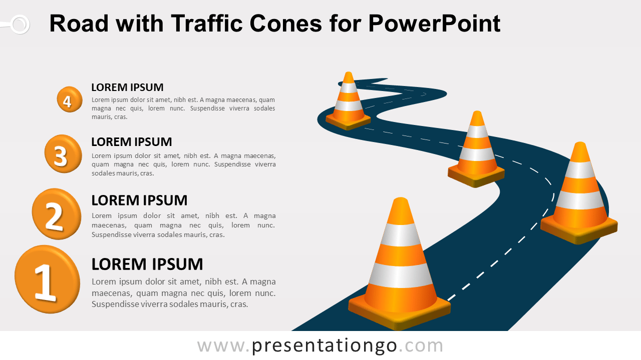 Free Winding Road with Traffic Cones for PowerPoint
