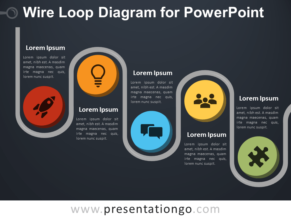 Free Free Wire Loop Diagram for PowerPoint - Dark Background