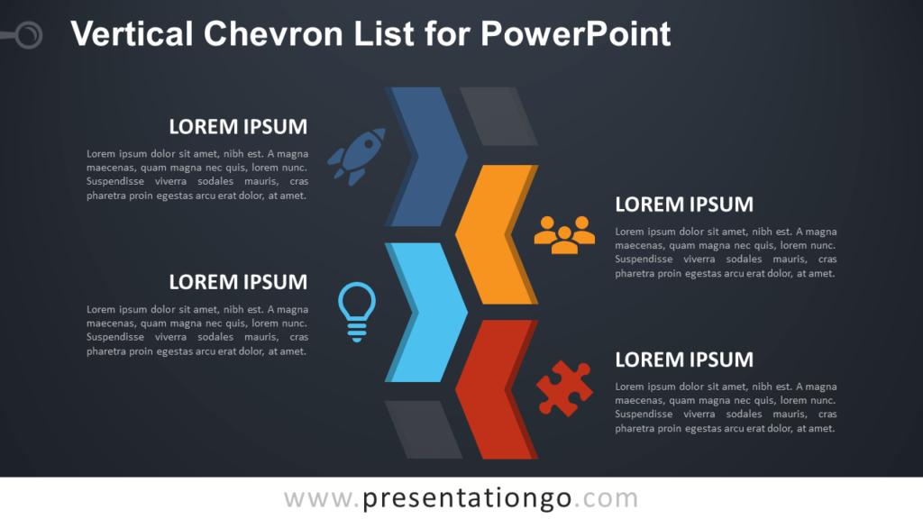 Free Chevron List for PowerPoint - Dark Background