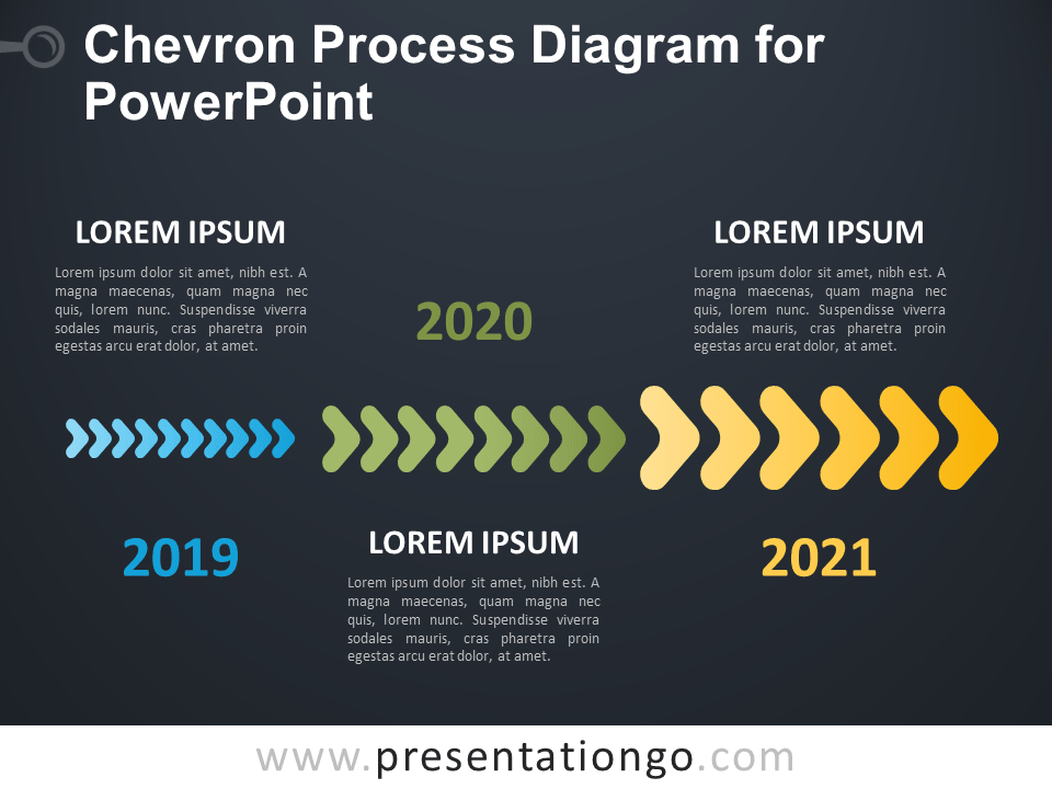 Free Chevron Process Diagram for PowerPoint - Dark Background