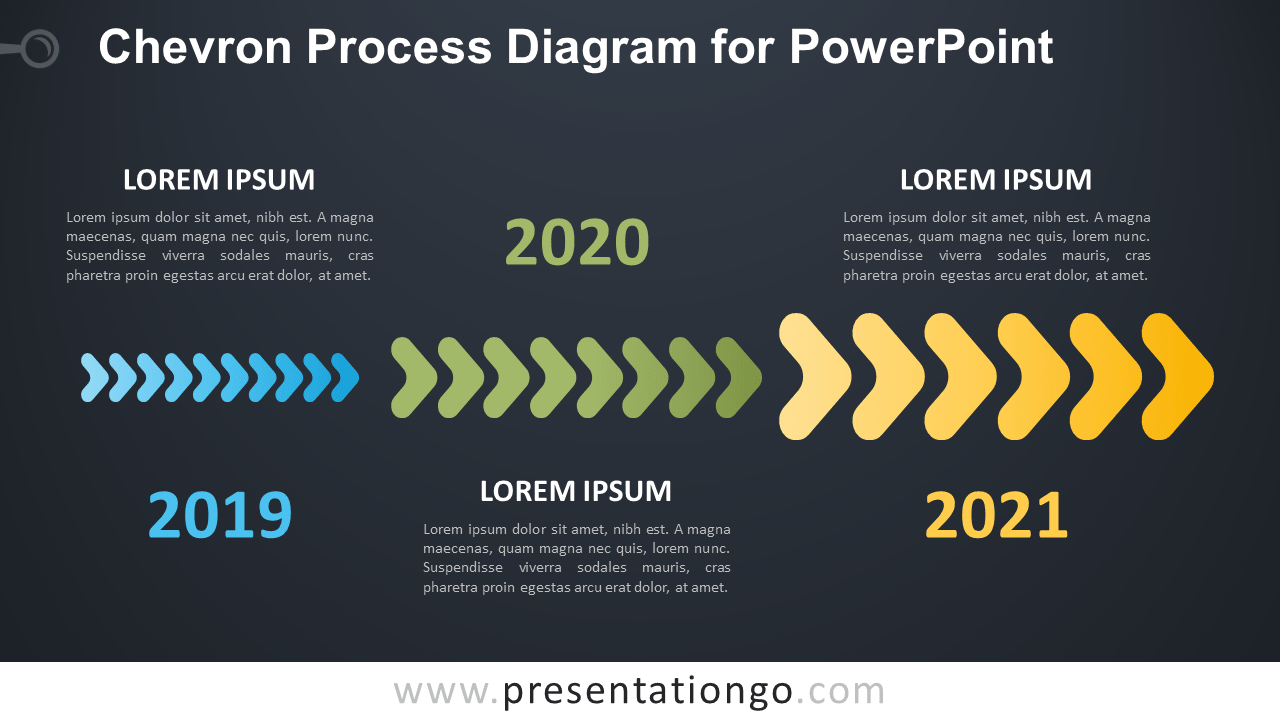 Free Chevron Process for PowerPoint - Dark Background
