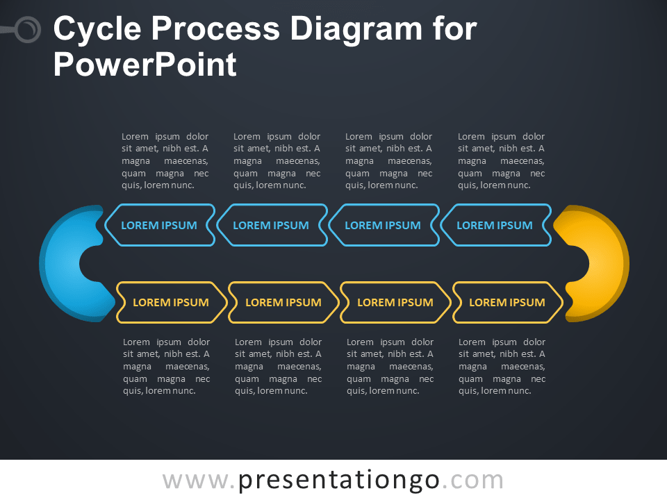 Free Cycle Process Diagram for PowerPoint - Dark Background