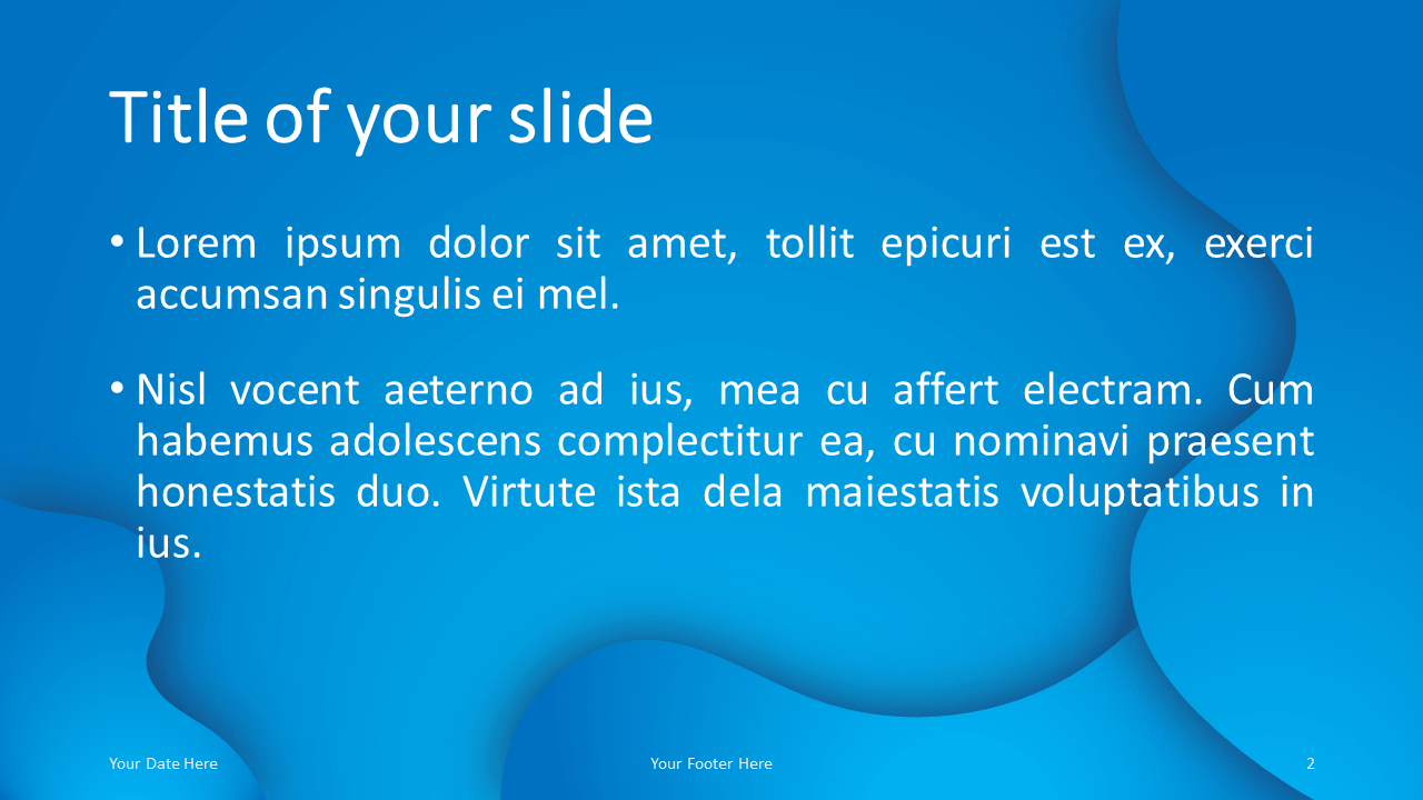 Fluids Free PowerPoint Template (Blue) - Title and Content Layout