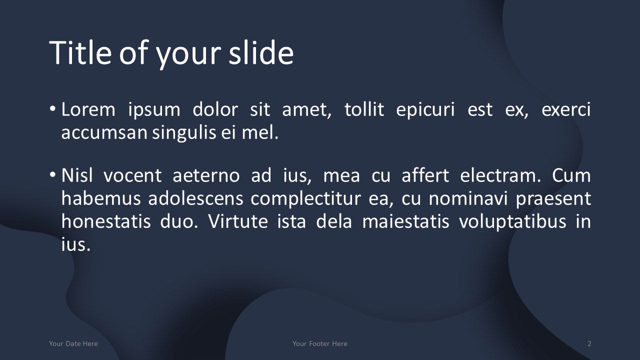 Fluids Free PowerPoint Template (Dark Blue) - Title and Content Layout