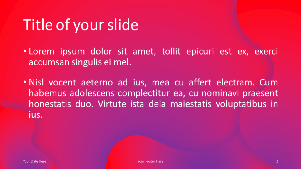 Fluids Free PowerPoint Template (Pink-Purple) - Title and Content Layout